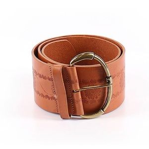 Accessories - Brown Leather Flower Engraved Leather Belt Small